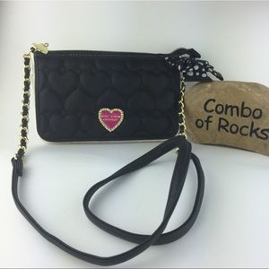Betsey Johnson Heart Quilted Pattern Crossbody Bag